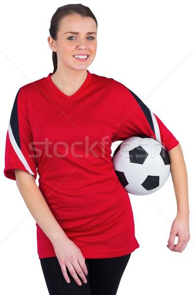 Stock fotó: Csinos · futball · ventillátor · piros · fehér · labda