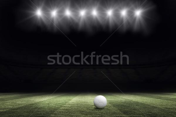 Voetbal toonhoogte nacht bal lichten digitaal Stockfoto © wavebreak_media