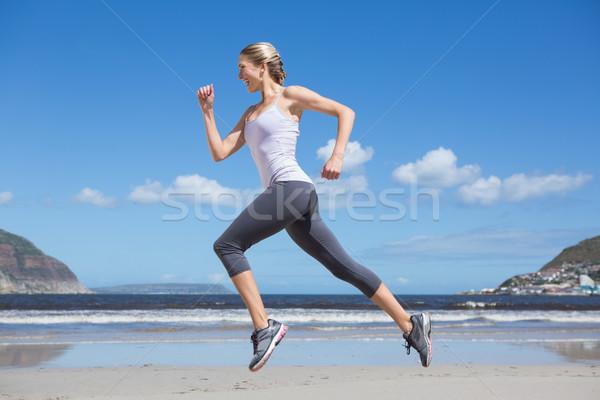 かなり フィット ブロンド ジョギング ビーチ ストックフォト © wavebreak_media