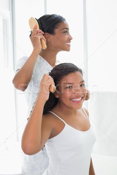 Moeder dochter haren samen home badkamer Stockfoto © wavebreak_media