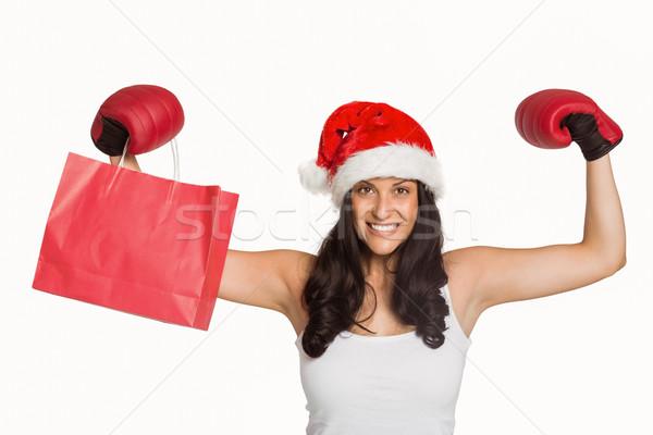 женщину красный боксерские перчатки белый торговых Сток-фото © wavebreak_media