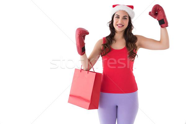 Feestelijk brunette bokshandschoenen boodschappentas witte gelukkig Stockfoto © wavebreak_media