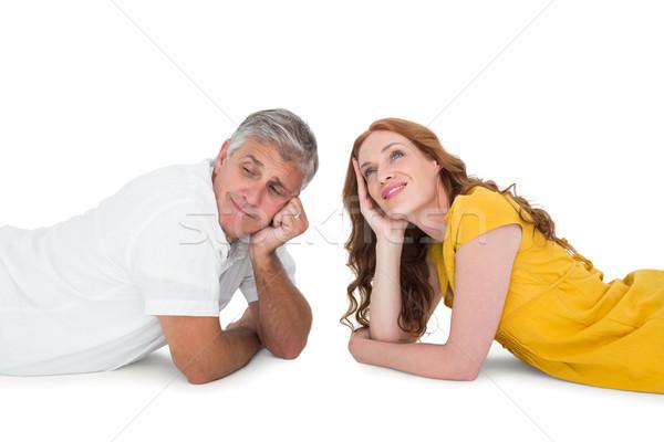 Foto stock: Casual · casal · piso · branco · mulher · amor