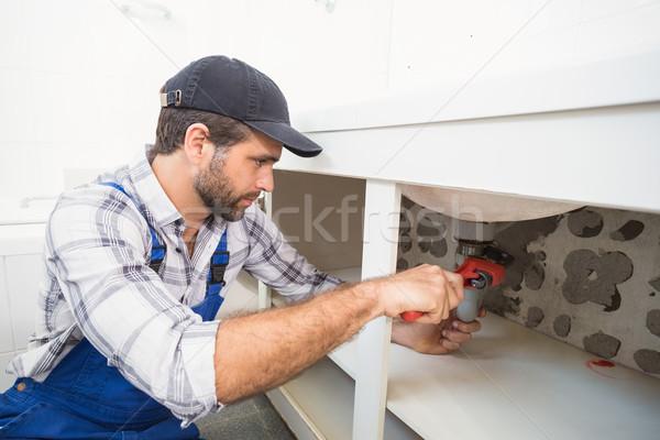 Idraulico sink bagno uomo lavoro Foto d'archivio © wavebreak_media