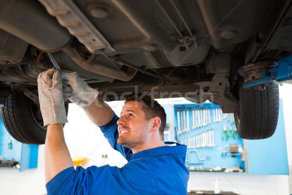 Mecánico examinar coche reparación del coche garaje servicio Foto stock © wavebreak_media