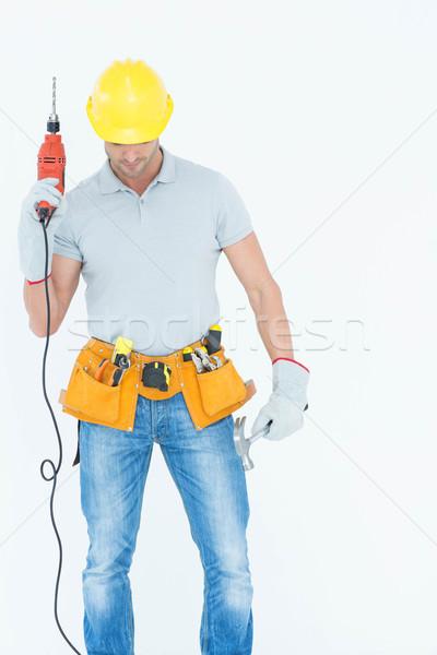 техник дрель машина белый Постоянный Сток-фото © wavebreak_media