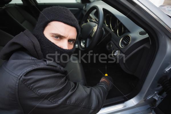 Ladro auto cacciavite porta ritratto maschio Foto d'archivio © wavebreak_media
