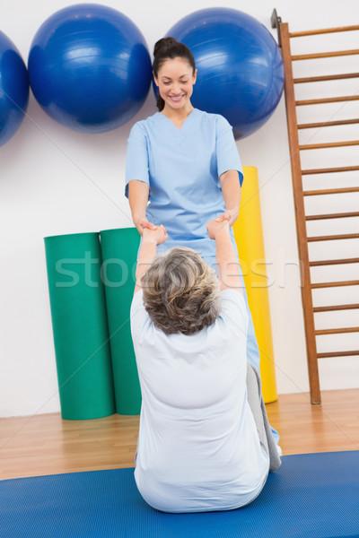 Stok fotoğraf: Terapist · çalışma · kıdemli · kadın · egzersiz · uygunluk