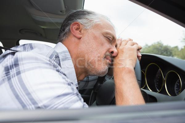 Részeg férfi kormánykerék autó életstílus alszik Stock fotó © wavebreak_media
