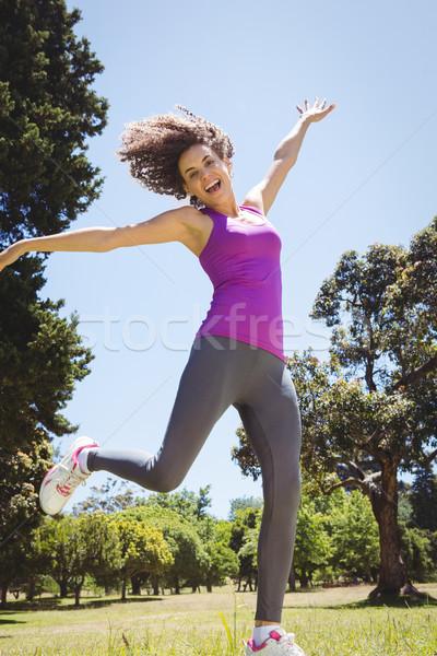 соответствовать женщину парка счастливым фитнес Сток-фото © wavebreak_media