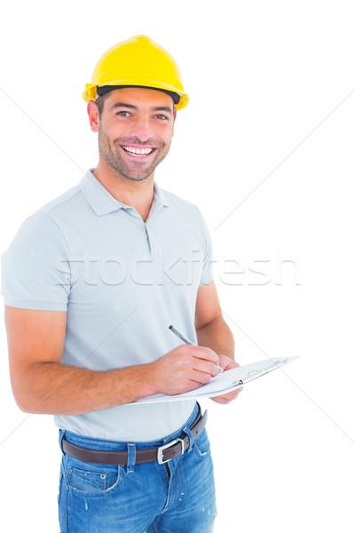 Portret glimlachend mannelijke opzichter schrijven Stockfoto © wavebreak_media