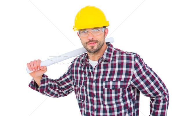 Ezermester tart tekert felfelé terv fehér Stock fotó © wavebreak_media