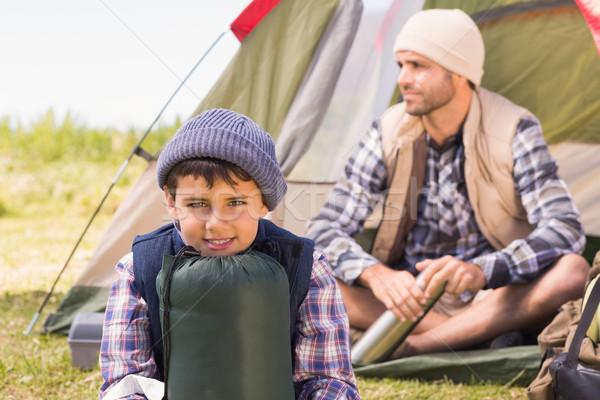 Figlio di padre tenda uomo felice natura Foto d'archivio © wavebreak_media