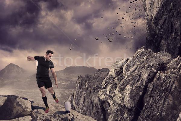 összetett kép rögbi játékos rúg labda Stock fotó © wavebreak_media