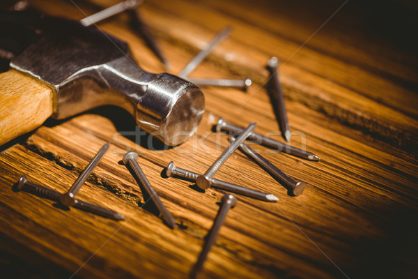 Hammer and nails laid out on table Stock photo © wavebreak_media
