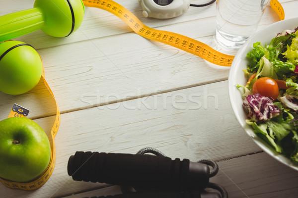 木製のテーブル 食品 ガラス 健康 表 ストックフォト © wavebreak_media