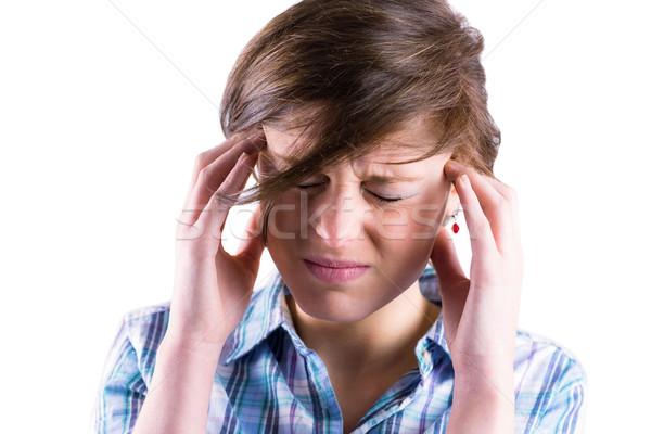 Bastante morena dolor de cabeza manos cabeza blanco Foto stock © wavebreak_media
