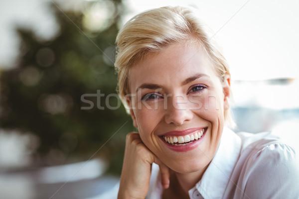 カフェ 所有者 笑みを浮かべて カメラ ビジネス 幸せ ストックフォト © wavebreak_media