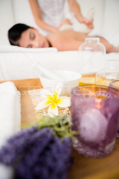Foto stock: Mulher · bonita · massagem · hotel
