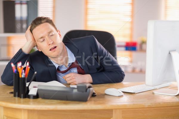 Sfinito imprenditore dormire desk ufficio mouse Foto d'archivio © wavebreak_media