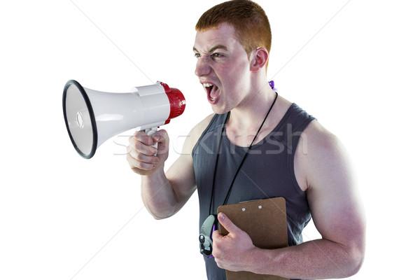 Boos personal trainer megafoon witte sport Stockfoto © wavebreak_media