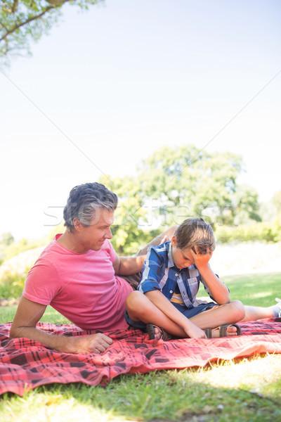 父 ピクニック 公園 男 ストックフォト © wavebreak_media