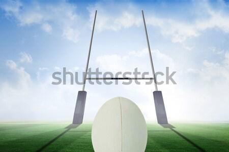 Rögbilabda posta füves mező égbolt alulról fotózva Stock fotó © wavebreak_media