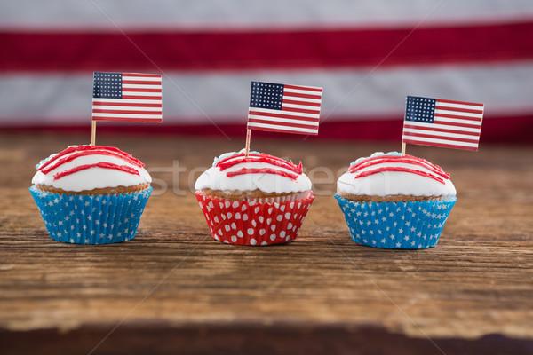 Patriótico bandeira americana mesa de madeira comida Foto stock © wavebreak_media