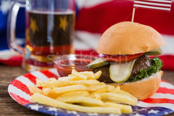 Burger mesa de madeira comida azul Foto stock © wavebreak_media