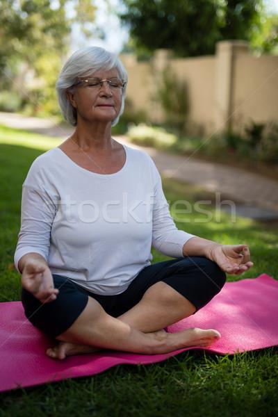 Senior vrouw mediteren park vergadering Stockfoto © wavebreak_media