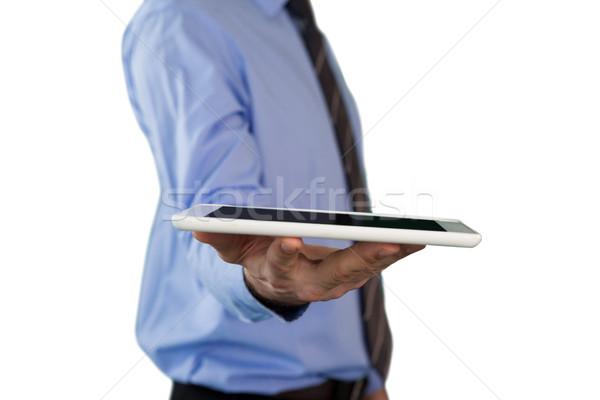 Yandan görünüş işadamı ayakta beyaz telefon Stok fotoğraf © wavebreak_media