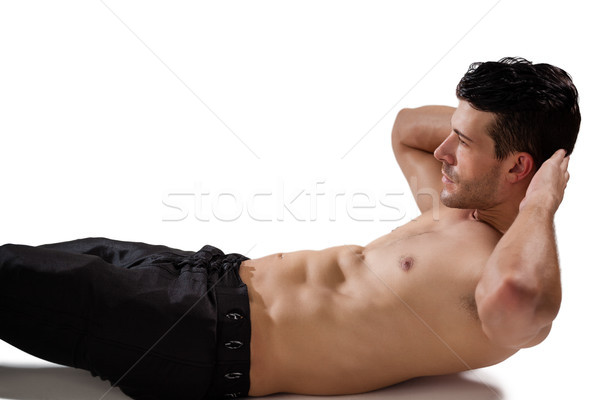 Side view of shirtless sports man doing exercise Stock photo © wavebreak_media