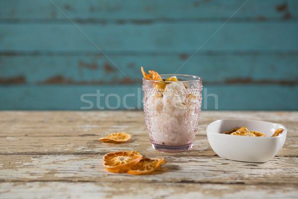 śniadanie drewniany stół fitness szkła tabeli Zdjęcia stock © wavebreak_media