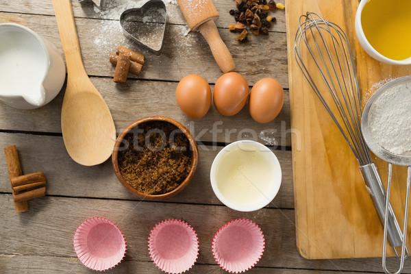 Vista ingredientes mesa madera cocina Foto stock © wavebreak_media