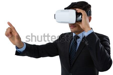 Empresária virtual realidade fone branco Foto stock © wavebreak_media