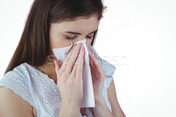 病気 ブルネット 鼻をかむ 白 女性 美しい ストックフォト © wavebreak_media
