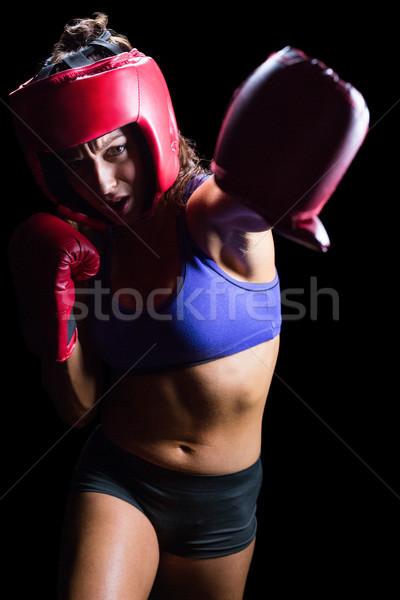 Vrouwelijke bokser handschoenen vrouw sport Rood Stockfoto © wavebreak_media
