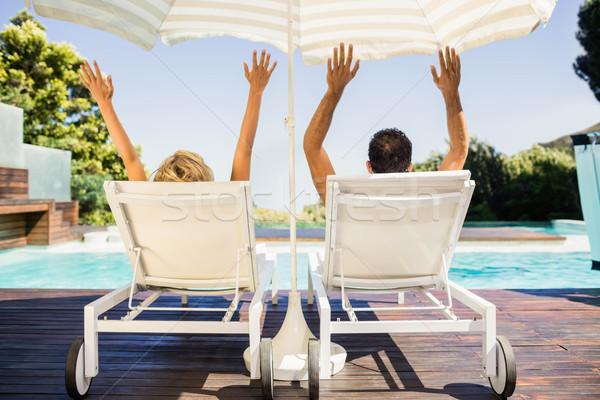 вид сзади пару рук палуба стульев человека Сток-фото © wavebreak_media