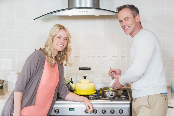 Aranyos pár réz bogrács konyha nő Stock fotó © wavebreak_media