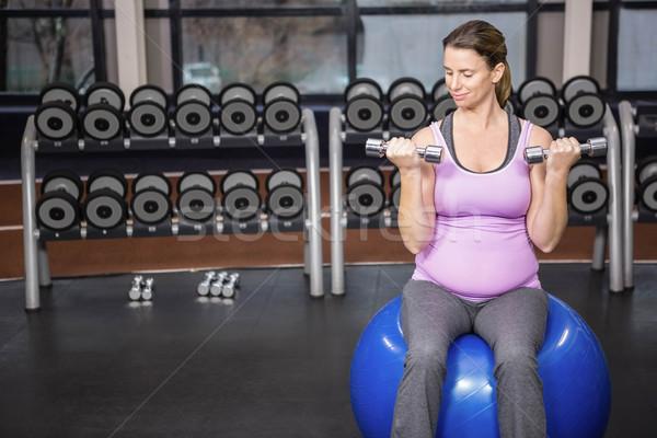 определенный женщину гантели фитнес мяча Сток-фото © wavebreak_media