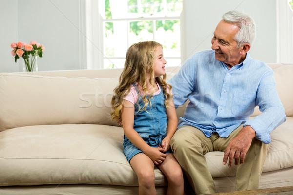 Mutlu dede kız oturma kanepe ev Stok fotoğraf © wavebreak_media