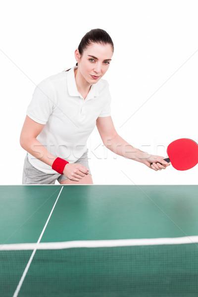 Kobiet sportowiec gry ping pong biały ciało Zdjęcia stock © wavebreak_media