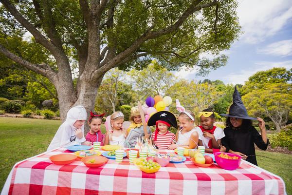 Children wearing costume having fun during birthday party  Stock photo © wavebreak_media