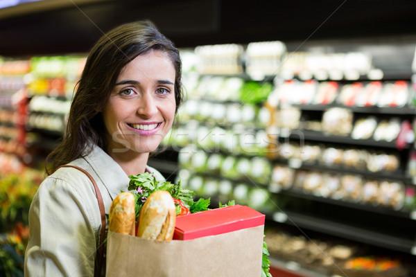 肖像 笑顔の女性 食料品 袋 オーガニック ストックフォト © wavebreak_media