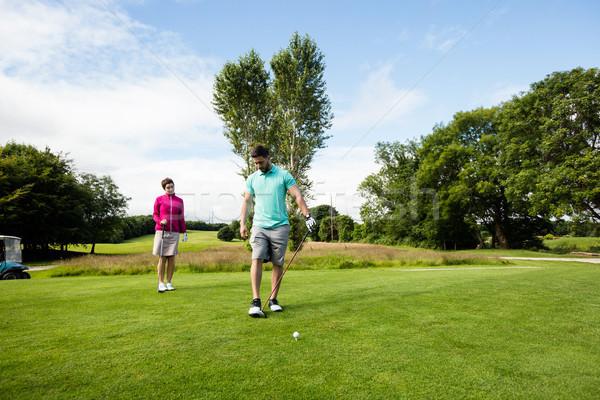 Männlich Ausbilder Frau Lernen Golf Golfplatz Stock foto © wavebreak_media