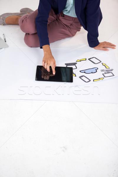 女性実業家 デジタル タブレット 白 ビジネス 紙 ストックフォト © wavebreak_media