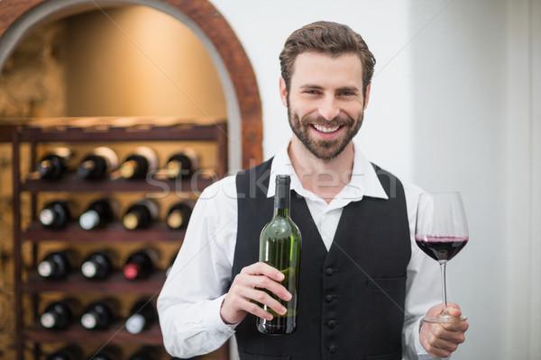 Stockfoto: Mannelijke · De · ober · wijnglas · wijnfles · restaurant