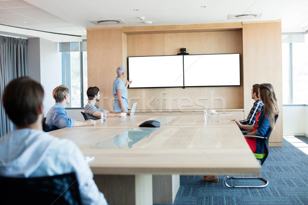 Woman giving presentation to her colleagues in conference room Stock photo © wavebreak_media