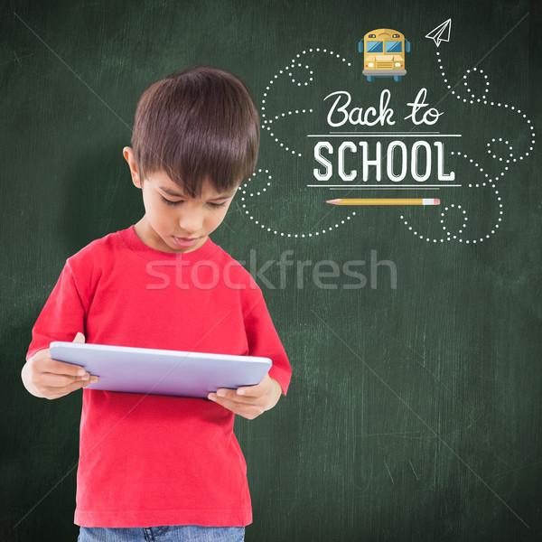 Zdjęcia stock: Obraz · cute · chłopca · tabletka · szkoły
