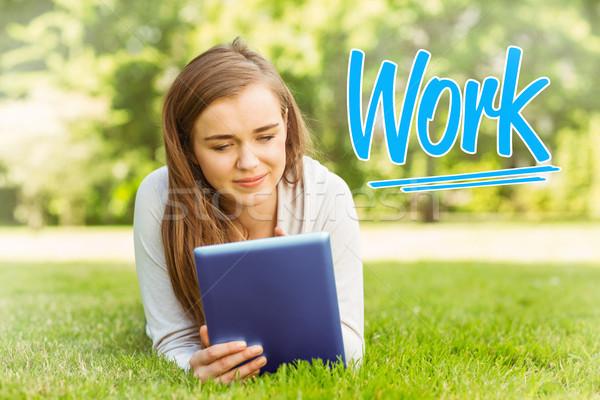 Munka egyetemi hallgató táblagép boldog diák oktatás Stock fotó © wavebreak_media